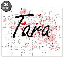 Tara Artistic Name Design with Hearts Puzzle