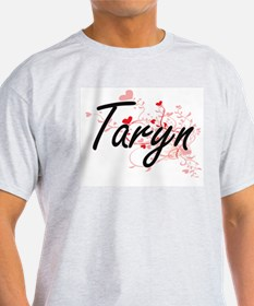 Taryn Artistic Name Design with Hearts T-Shirt