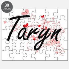 Taryn Artistic Name Design with Hearts Puzzle