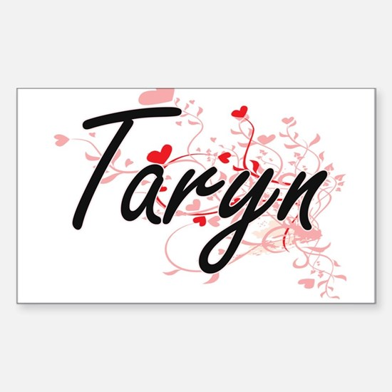 Taryn Artistic Name Design with Hearts Decal