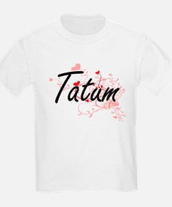 Tatum Artistic Name Design with Hearts T-Shirt
