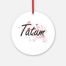 Tatum Artistic Name Design with H Ornament (Round)