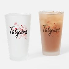 Tatyana Artistic Name Design with H Drinking Glass