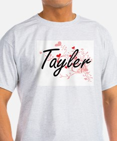 Tayler Artistic Name Design with Hearts T-Shirt