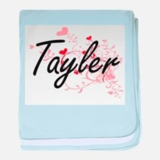 Tayler Artistic Name Design with Hear baby blanket
