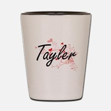 Tayler Artistic Name Design with Hearts Shot Glass