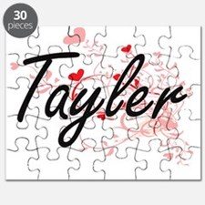 Tayler Artistic Name Design with Hearts Puzzle