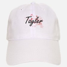 Tayler Artistic Name Design with Hearts Baseball Baseball Cap
