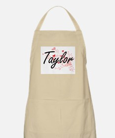 Taylor Artistic Name Design with Hearts Apron