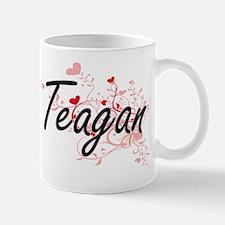 Teagan Artistic Name Design with Hearts Mug