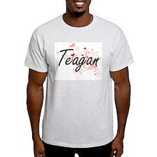 Teagan Artistic Name Design with Hearts T-Shirt