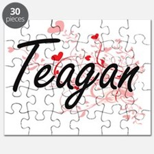 Teagan Artistic Name Design with Hearts Puzzle