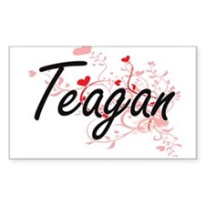 Teagan Artistic Name Design with Hearts Decal