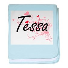 Tessa Artistic Name Design with Heart baby blanket