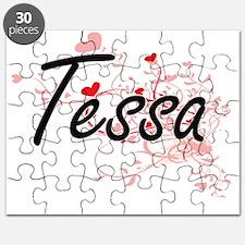 Tessa Artistic Name Design with Hearts Puzzle