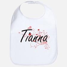 Tianna Artistic Name Design with Hearts Bib