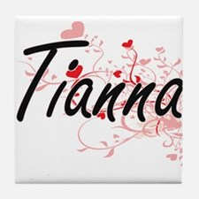 Tianna Artistic Name Design with Hear Tile Coaster