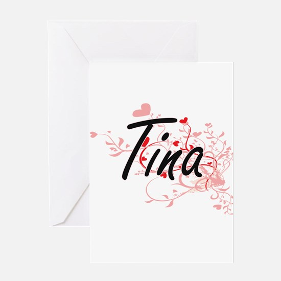Tina Artistic Name Design with Hear Greeting Cards