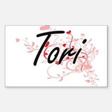 Tori Artistic Name Design with Hearts Decal