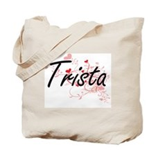 Trista Artistic Name Design with Hearts Tote Bag