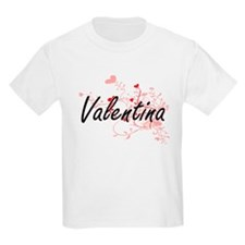 Valentina Artistic Name Design with Hearts T-Shirt