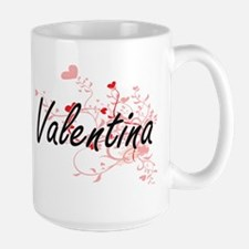 Valentina Artistic Name Design with Hearts Mugs