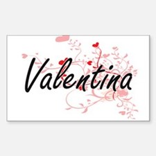 Valentina Artistic Name Design with Hearts Decal