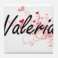 Valeria Artistic Name Design with Hea Tile Coaster