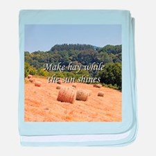 Make hay while the sun shines hay bal baby blanket