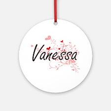 Vanessa Artistic Name Design with Ornament (Round)