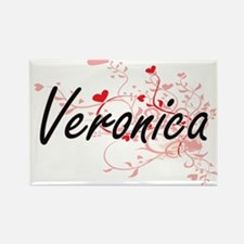 Veronica Artistic Name Design with Hearts Magnets