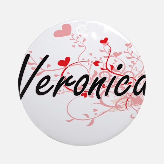 Veronica Artistic Name Design wit Ornament (Round)