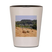Make hay while the sun shines hay bales Shot Glass
