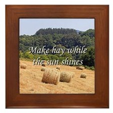 Make hay while the sun shines hay bale Framed Tile