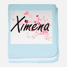 Ximena Artistic Name Design with Hear baby blanket