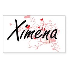 Ximena Artistic Name Design with Hearts Decal