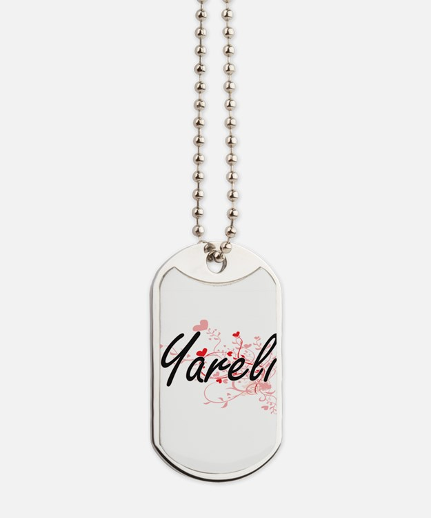 Yareli Artistic Name Design with Hearts Dog Tags