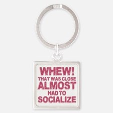 Introvert Social Anxiety Humor Square Keychain