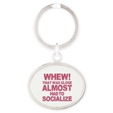 Introvert Social Anxiety Humor Oval Keychain