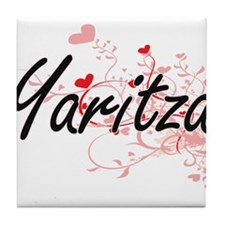 Yaritza Artistic Name Design with Hea Tile Coaster