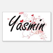Yasmin Artistic Name Design with Hearts Decal