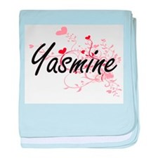 Yasmine Artistic Name Design with Hea baby blanket