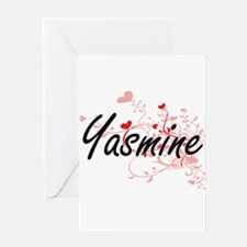 Yasmine Artistic Name Design with H Greeting Cards