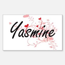 Yasmine Artistic Name Design with Hearts Decal
