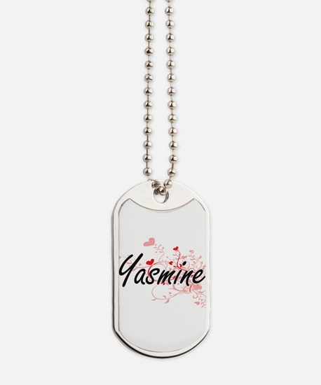 Yasmine Artistic Name Design with Hearts Dog Tags