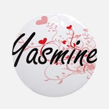 Yasmine Artistic Name Design with Ornament (Round)