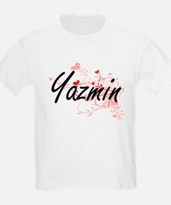 Yazmin Artistic Name Design with Hearts T-Shirt