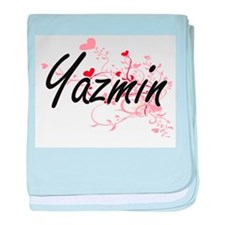 Yazmin Artistic Name Design with Hear baby blanket