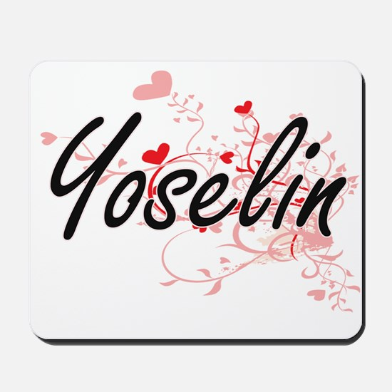 Yoselin Artistic Name Design with Hearts Mousepad
