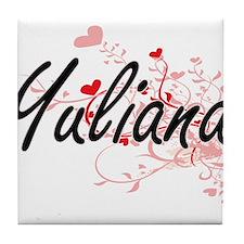 Yuliana Artistic Name Design with Hea Tile Coaster